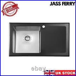 JASSFERRY New Premium Black Glass Top Stainless Steel Kitchen Sink Single Bowl