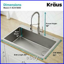 KRAUS Single Bowl Kitchen Sink Pull Down Faucet 2-Hole Stainless Steel Satin