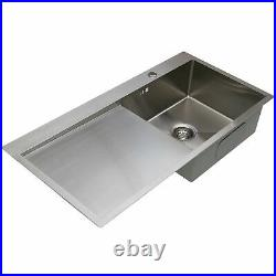 Kitchen Sink Single Bowl LH/RH Drainer Stainless Steel Inset Basket Waste