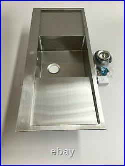 Kitchen modern inset sink, Single bowl with double drainer, L1200 x w510