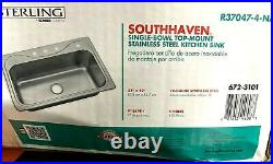 Kohler Sterling 33 Kitchen Sink Southhaven Drop-In 4-Hole Single Bowl Stainless