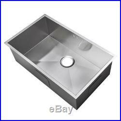 Large 1.0 Bowl Handmade Satin Stainless Steel Undermount Kitchen Sink DS008