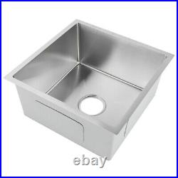 Large Single Bowl Kitchen Sink Stainless Steel Drainer Kit Countertop New