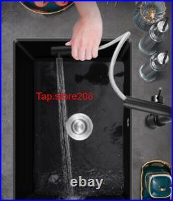 Large Undermount Granite Sink with Overflow Hole Black Granite Single Bowl Sink