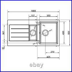 MELIA Black Kitchen Sink 1.0 Single Bowl OR 1.5 Bowl and Half Wastes Reversible