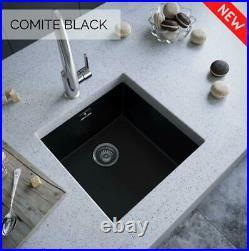 Matt Black- Comite Single Bowl Inset Or Undermounted Kitchen Sink Wastes Inc