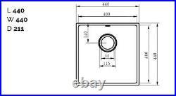 Matt Grey- Comite Single Bowl Inset Or Undermounted Kitchen Sink Drainer Wastes