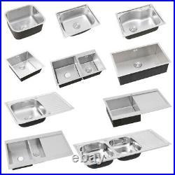 Modern Kitchen Sink Stainless Steel Single/Double Bowl Sink Drainer Waste Kit UK