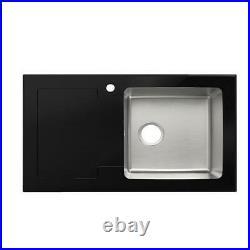 Modern Stainless Steel & Glass Top Kitchen Sink & Drainer 1 Bowl 860 x 510mm LHD