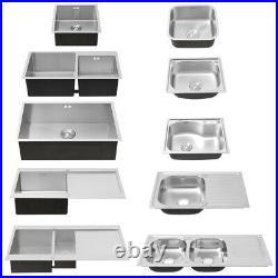 Modern Stainless Steel Single 1.0/2.0 Bowl Kitchen Sink Square Undermount Waste
