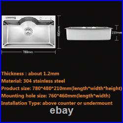 Multi Kitchen Sink Single Bowl Above Counter/Under mount Stainless Steel