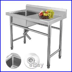 NEW Stainless Steel Commercial Sink Single Bowl Kitchen Catering Prep Table