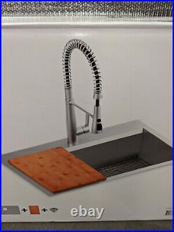 OPEN Kohler Pro-Inspired Kitchen Sink Kit with Cutting Board Single-Bowl 33 Width