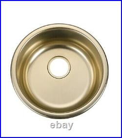 Polished Chrome stainless steel Single Round bowl kitchen sink trough 420 mm