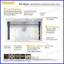Primart 33 x 22 Inch 16 Ga Single Bowl Stainless Steel Top mount Kitchen Sink
