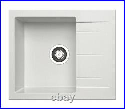 Pyramis Alazia Granite Kitchen Sink Single Bowl & Drainer Black/Iron Grey/White