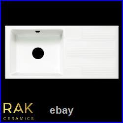 RAK White 1.0 Single Bowl Ceramic Gourmet Kitchen Sink Reversible Groove Drainer
