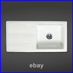 Rak Ceramics Single Bowl White Kitchen Sink with Waste Option