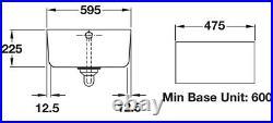 Rangemaster CBL595WH Belfast 60cm Single Bowl Ceramic Sink Incl Chrome Waste Kit