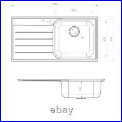 Rangemaster LH Inset Stainless Steel Kitchen Sink 1.0 Single Bowl FREE Waste