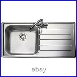 Rangemaster RH Inset Stainless Steel Kitchen Sink 1.0 Single Bowl FREE Waste