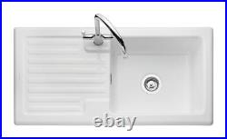 Rangemaster Rustic White Ceramic Kitchen Sink Single / 1.5 Bowl Surface Mount