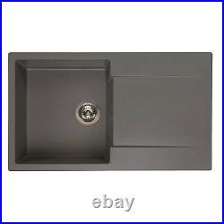 Reginox Amsterdam 10 Kitchen Sink Inset Single Bowl Drainer Granite Waste Grey