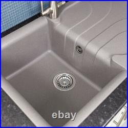 Reginox EGO400 Granite Single Bowl Kitchen Sink Grey Waste Reversible Recessed