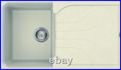 Reginox EGO400 Single Bowl Granite Cream Kitchen Sink Waste Reversible Recessed