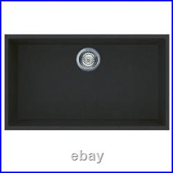 Reginox Elleci Quadra Black Granite Single Bowl Undermount Kitchen Sink Waste