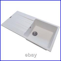 Reginox Hampton Kitchen Sink Sinks Inset Single Bowl Drainer Granite Waste White