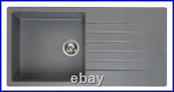 Reginox Harlem 10 HARLEM10 Silvery Grey Granite Inset Sink Single Bowl & Drainer