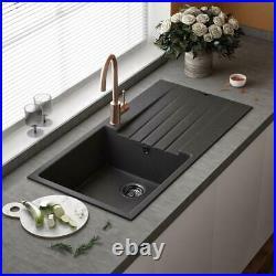 Reginox Harlem 10 Single Bowl Kitchen Sink with Drainer Silver Black Granite