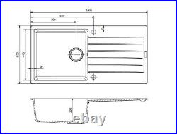 Reginox Harlem Single Bowl Granite Sink Grey 1000 x 500mm