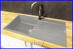 Reginox Harlem10 Silver Grey Single Bowl Kitchen Sink and Drainer Granite Modern