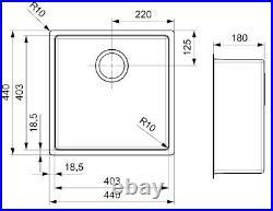 Reginox New York Kitchen Sink Stainless Steel Single Bowl 40 x 40 Waste Black