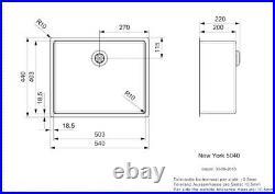 Reginox New York Stainless Steel Single Bowl Kitchen Sink Integral Waste 50 x 40