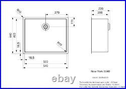 Reginox New York Stainless Steel Single Bowl Sink with Integral Waste 50x40