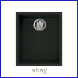 Reginox Quadra100 Granite Undermount Single Bowl Kitchen Sink Waste Black Modern