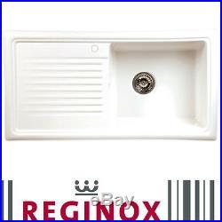Reginox RL304CW 1.0 Bowl White Ceramic Reversible Inset Kitchen Sink & Waste Kit