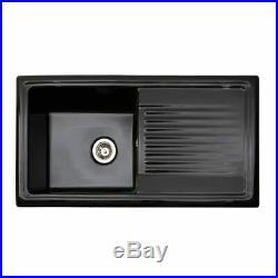 Reginox RL404CB 1.0 Bowl Black Gloss Ceramic Reversible Kitchen Sink & Waste Kit
