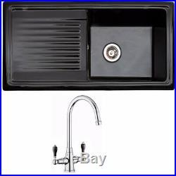 Reginox Single & 1.5 Bowl White, Black Reversible Ceramic Kitchen Sink & Tap