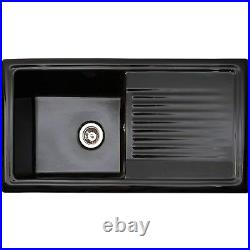 Reginox Single Bowl Reversible Drainer Ceramic Black Inset Kitchen Sink RL404CB
