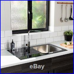 Reversible Black Glass + Stainless Steel Kitchen Sink 860mm Single Bowl + Waste