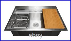 SEE NOTES AKDY 32x22x9 Stainless Steel Single Bowl Drop-In 1-Hole Sink