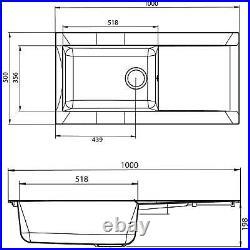 SIA 1.0 Bowl Grey Composite Reversible Inset Kitchen Sink & KT6CU Copper Tap