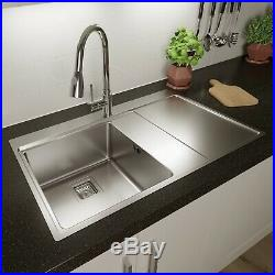 Säuber 1 Bowl Square Inset Stainless Steel Kitchen Sink Right Hand Drainer