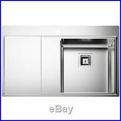 Säuber Single Bowl Square Inset Stainless Steel Kitchen Sink Left Hand Drainer