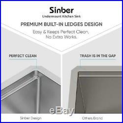 Sinber 32 Undermount 16 Gauge Single Bowl Stainless Steel Kitchen Sink