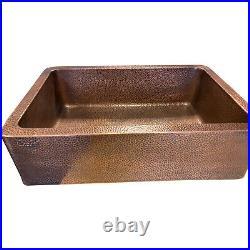 Single Bowl Antique Hammered Copper Kitchen Sink Belfast Farmhouse Butler Style
